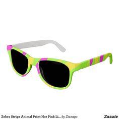 Zebra Stripe Animal Print Hot Pink Lime Yellow Sunglasses