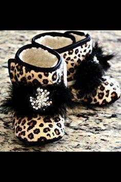 Boutique Leopard Baby Girl Booties Baby Infant Shoes Non Skid with Vintage…