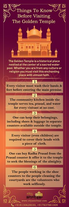 """Golden Temple in Amritsar is one of the most spectacular sites in India. We have listed for you """"Things To Know Before Visiting Golden Temple"""". Have a look at the Infographic. Know each and every thing about Golden Temple. Langar Hall, Guru Hargobind, Baba Deep Singh Ji, Maharaja Ranjit Singh, Harmandir Sahib, Shri Guru Granth Sahib, Golden Temple Amritsar, Guru Gobind Singh, Things To Know"""