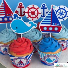 Nautical Birthday Party Cupcake Toppers, DIY editable printables decoration by OwliePowlie - to edit, simply type in your child's name, age & monogram. Ay Matey! All Aboard the Nautical Theme Party! Shop our large selection of nautical inspired party supplies & decor.