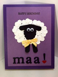Happy Birthday Maa!  Humerous Handmade Birthday Card for Mom, Purple Birthday Card with Sheep, Stampin Up Products, by TreasuresForACure on Etsy