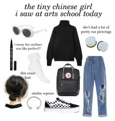 """""""i don't even know her name yet but she was so short and cute despite all her piercings"""" by groovypeach on Polyvore featuring Miss Selfridge, Vans, Balmain, The Row and Fjällräven"""