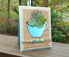 """Using the November 2015 #mymonthlyhero kit, Libby """"planted"""" paper succulents in a coffee mug"""