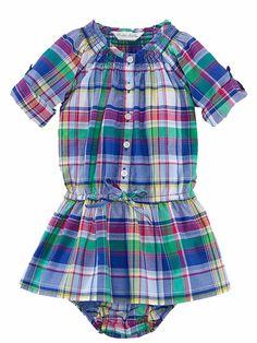 NWT Ralph Lauren Polo Baby Girls Plaid Madras Shirt Dress Set 12 M #RalphLauren #Casual