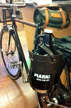 growler carrier made by Walnut Studios, seen on customer Ryan's bike at Uptown Market Bottle Shop, Beer Bottle, Liquor List, Craft Beer Gifts, Beer Growler, Home Brewing, Golf Bags, Brewery, Saddle Bags