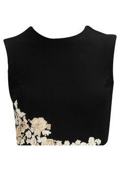 Black floral embroiderd crop top by Ridhi Mehra. Show now www.perniaspopups... #designer #fashion #updates #shopnow #perniaspopupshop #happyshopping