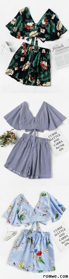 Yoga Girls 338684834468744409 - Plunging V-Neckline Printed Random Knot Crop Top With Shorts Source by msourideth Cool Outfits, Summer Outfits, Casual Outfits, Fashion Outfits, Womens Fashion, Diy Fashion, Inspiration Mode, Fashion Inspiration, Creation Couture
