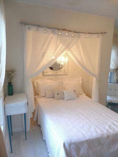 Remove closet doors it creates gorgeous bed placement.. hmmm interesting