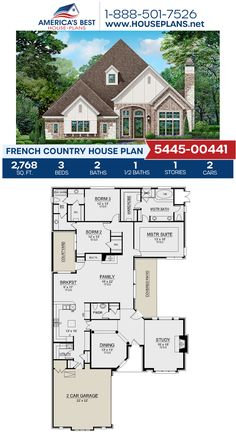 Get to know this French Country home, Plan 5445-00441 details 2,768 sq. ft., 3 bedrooms, 2.5 bathrooms, a kitchen island, an open floor plan, and a study. #frenchcountry #architecture #houseplans #housedesign #homedesign #homedesigns #architecturalplans #newconstruction #floorplans #dreamhome #dreamhouseplans #abhouseplans #besthouseplans #newhome #newhouse #homesweethome #buildingahome #buildahome #residentialplans #residentialhome Best House Plans, Dream House Plans, French Country House Plans, Open Layout, French Countryside, Cottage Homes, Open Floor, New Construction, Square Feet