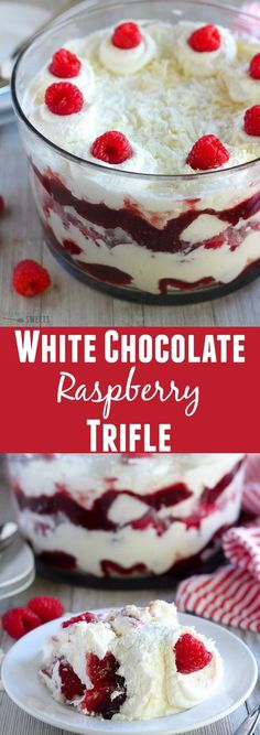 White Chocolate Raspberry Trifle - A white chocolate raspberry trifle made from layers of cake, white chocolate mousse, whipped cream, raspberry jam and fresh raspberries. A beautiful and surprisingly easy dessert. #chocolateraspberrydessert