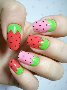 Strawberry nails - maybe instead of pink and red like a red ombré