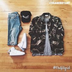Outfit grid - Camo shirt & jeans