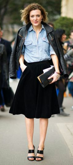 effortless style- perfect black midi skirt