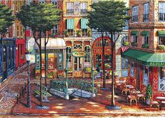 Sunlit Square - by John O'Brien 1000 piece jigsaw puzzle Canada | CanadaPuzzles.ca