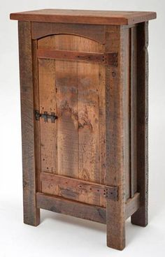 This rustic reclaimed barnwood cabinet is an ideal storage piece. House anything from coats and shoes to mops and brooms in the foyer or mudroom. Store clothes or games in the bedroom or den. Hand constructed from time-worn barnwood this rustic cupboard has a truly vintage look. With wooden hinges and a metal locking mechanism