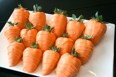 Easter carrot chocolate covered  strawberries orange green 1 dozen in box - party bbq reunion