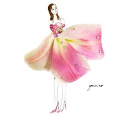 fashion illustration made of flower petals by Grace Ciao Grace Ciao, Art Floral, Moda Floral, Flower Petals, Flower Art, Flower Girls, Art Flowers, Unique Drawings, Floral Fashion