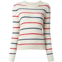 Isabel Marant Étoile 'Gaston' sweater (2 040 SEK) ❤ liked on Polyvore featuring tops, sweaters, white top, striped sweater, long sleeve tops, white long sleeve sweater and striped top