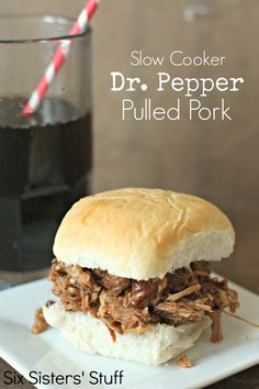 Slow Cooker Dr. Pepper Pulled Pork on SixSistersStuff.com - just 4 ingredients! One of the easiest dinners I've ever made!