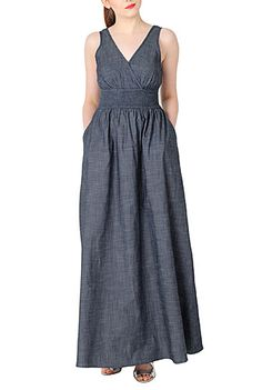 Elastic waist chambray maxi dress