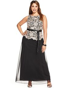 Sleeveless Lace-Bodice Belted Gown. Store: Macy's. (Brand: Alex Evenings.) $199.00. Available in color shown only. [Appropriate for both events and very elegant. It looks like 2 pieces, but it's not.]
