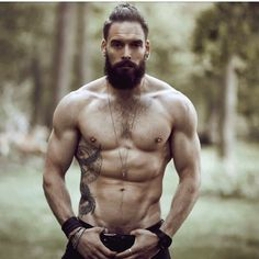 full thick bushy dark beard and mustache beards bearded man men tattoos tattooed built muscles muscular fit fitness bearding #beardsforever
