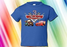 NEW Personalized Lightening McQueen and Tow Mater Cars Custom Birthday Royal Blue Shirt All Youth Sizes on Etsy, $16.95