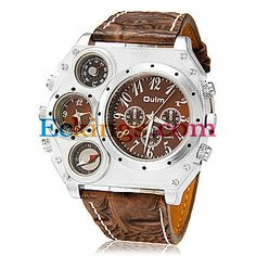 Men's Dual Time Zone Compass Thermometer Big Dial PU Leather Band Quartz Analog Wrist Watch (Assorted Colors) : Online Shopping for Watches,...