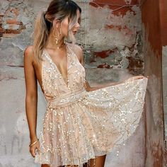 Featuring a beautiful sequin pattern overlaid on ultra-soft fabric, this hot mini dress will have you feeling like you're on the runway during fashion week. Hoco Dresses, Homecoming Dresses, Pretty Dresses, Dresses For Sale, Formal Dresses, Tight Dresses, Tiana Dress, Sequin Mini Dress, Birthday Dresses