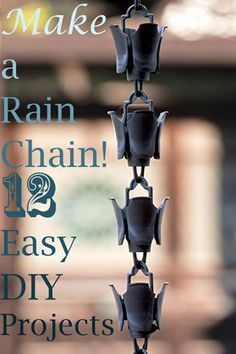 12 DIY Rain Chains for Your Yard - What is a rain chain? Here's how rain chains prevent erosion and 12 DIY rain chains you can make from recycled materials!