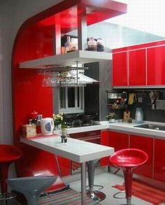 Red small kitchen <3 No roja, pero otro color, ¡increíble!
