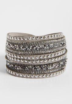 sparkling embellished faux suede wrap bracelet in gray