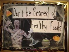 scary scene for this October bulletin board. Information on healthy . scary scene for this October bulletin board. Information on healthy . Cafeteria Bulletin Boards, Nurse Bulletin Board, November Bulletin Boards, Science Bulletin Boards, Halloween Bulletin Boards, Sport Nutrition, Kids Nutrition, Healthy Nutrition, Nutrition Pyramid
