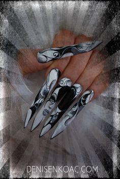 Nail Shapes - My Cool Nail Designs Edge Nails, Tina's Nails, Coffin Nails, Long Black Nails, Long Nails, Beautiful Nail Designs, Cool Nail Designs, Stiletto Nail Art, Acrylic Nails