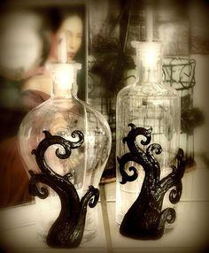 Italian glass, handcrafted oil & vinegar bottles.
