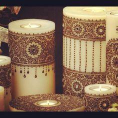 Mendhi candles sangeet center piece