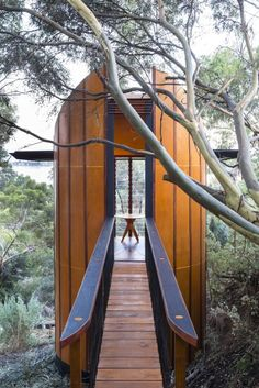 Architect builds passively-cooled Tree Top Studio By Adam Williams 2/16/15 Access to the studio is gained via timber bridge (Photo: Sam Noonan)