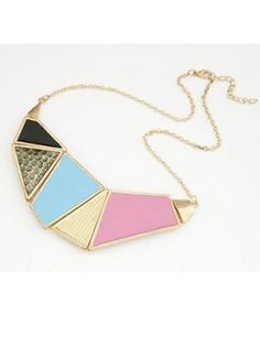 Colorful Geometry Square Paned Swear Necklace for Woman
