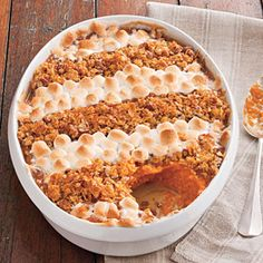 Cornflake, Pecan, and Marshmallow-Topped Sweet Potato Casserole Recipe