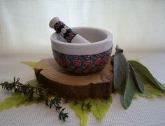 Millefiori Mortar and Pestle in Black, White and Red Roses