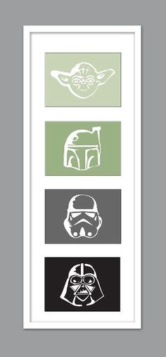 I like these pics for a toddlers room, nice neutral colors and who doesn't like Star Wars. 4 Star Wars Character Silhouettes for Nursery/Boys Nursery/Darth Vader/Yoda/Stormtrooper/Boba Fett - Set of 4 - Star Wars Decor, Decoration Star Wars, Star Wars Bedroom, Star Wars Nursery, Star Wars Baby, Geek Decor, Boba Fett, Citations Star Wars, Star Wars Kindergarten