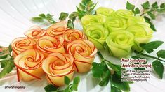 """World's Oddly Most Satisfying Apple Rose Garnish Video Ever. If you love apple, you'd want to watch this video till the end. This """"world's oddly most satisfying apple rose garnish"""" video would be a great interest for you! This video content Carrot Flowers, Fruit Flowers, Fruit Rose, Fruit Decorations, Food Decoration, Fruit Garnish, Fruit Creations, Watermelon Carving, Watermelon Art"""