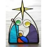 small hand made stained glass Nativity