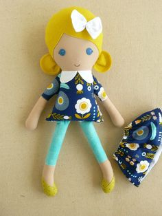 Fabric Doll Rag Doll Blond Haired Girl in Blue and by rovingovine