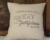 Great is Thy Faithfulness Pillow Cover, Hymn pillow, Thanksgiving Pillow Cover, Decorative pillow, Christian pillow cover