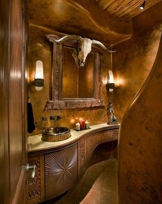 Western bathrooms | Glamorous powder room with a western-themed décor and a beautiful ...