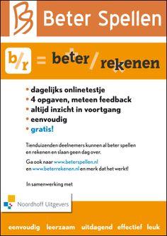 In te stellen op verschillende niveau's (ook geschikt voor volwassenen). Voor jongere kinderen is er www.beetjespellen.nl
