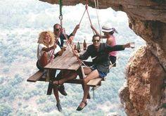 Image: Dangling picnic bench (© via http://aka.ms/buzzhunt)
