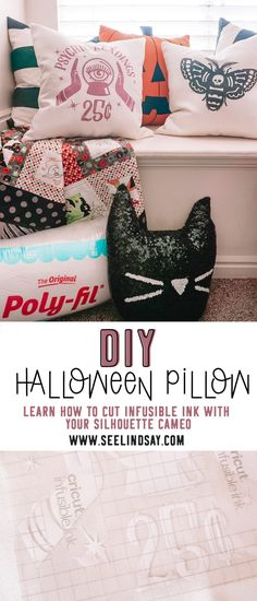 Learn what settings to use when cutting infusible ink with your silhouette cameo and make these super cute DIY Halloween Pillows. Use Cricut blanks for your Infusible Ink or learn where you can buy more blanks for sublimation projects. Find some tricks about how to cut infusible ink and how to fix some of the ink not transferring completely. Use your EasyPress to make these Halloween pillows.