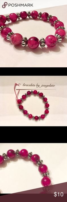 Handmade magenta beaded bracelet Handmade magenta beaded bracelet paired with silver accent beads made on stretchy cord. Too fab! As always, accepting reasonable offers and bundles of multiple items! jessgelato Jewelry Bracelets